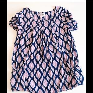 ANTHROPOLOGIE HOLDING HORSES PATTERN TUNIC TOP M